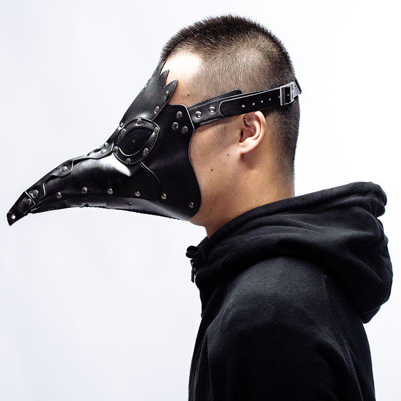 Halloween Rivet Embellish Steampunk PU Leather Beak Mask - BLACK
