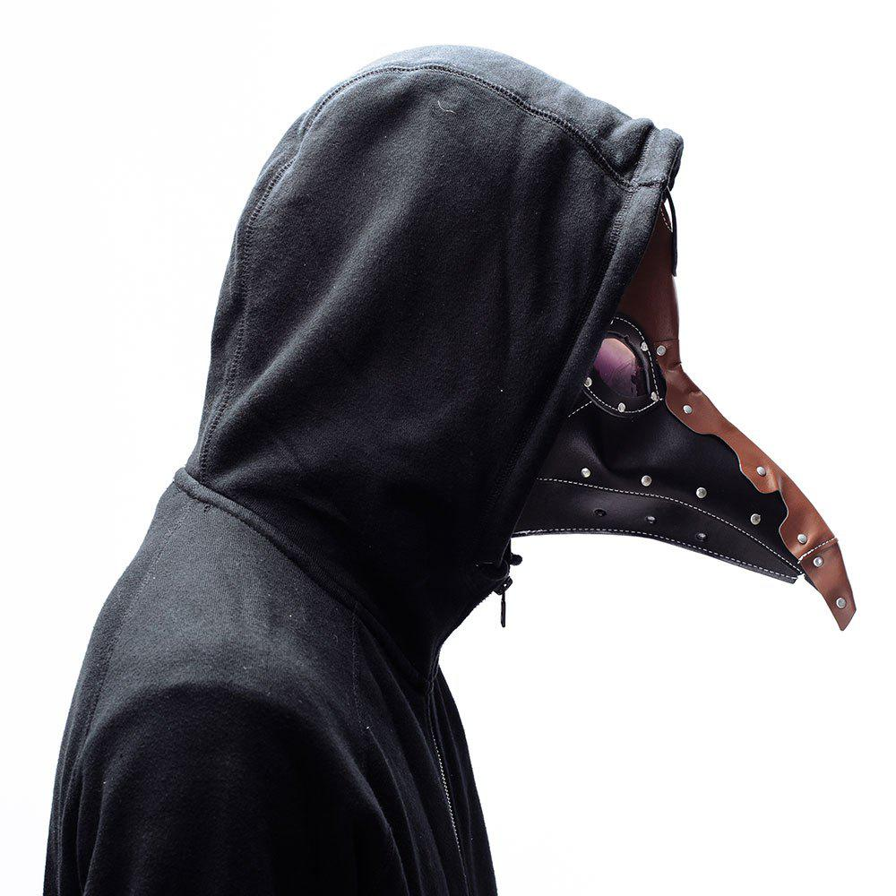 Classic Steampunk Plague Doctor Halloween Black Crow Mask - BLACK/BROWN
