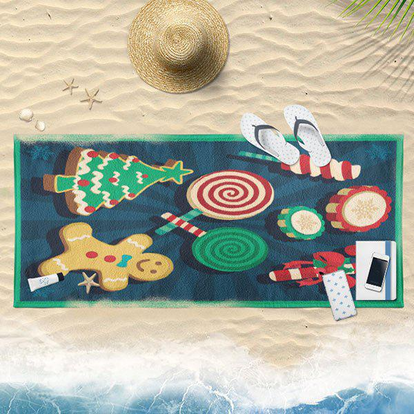 Christmas Candy Biscuit Pattern Bath Towel - BLUE 75CM*150CM