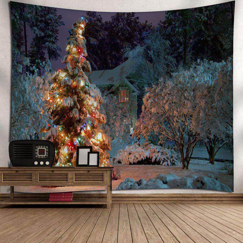 Christmas Tree Snowscape Wall Decor Tapestry - COLORMIX W71 INCH * L71 INCH