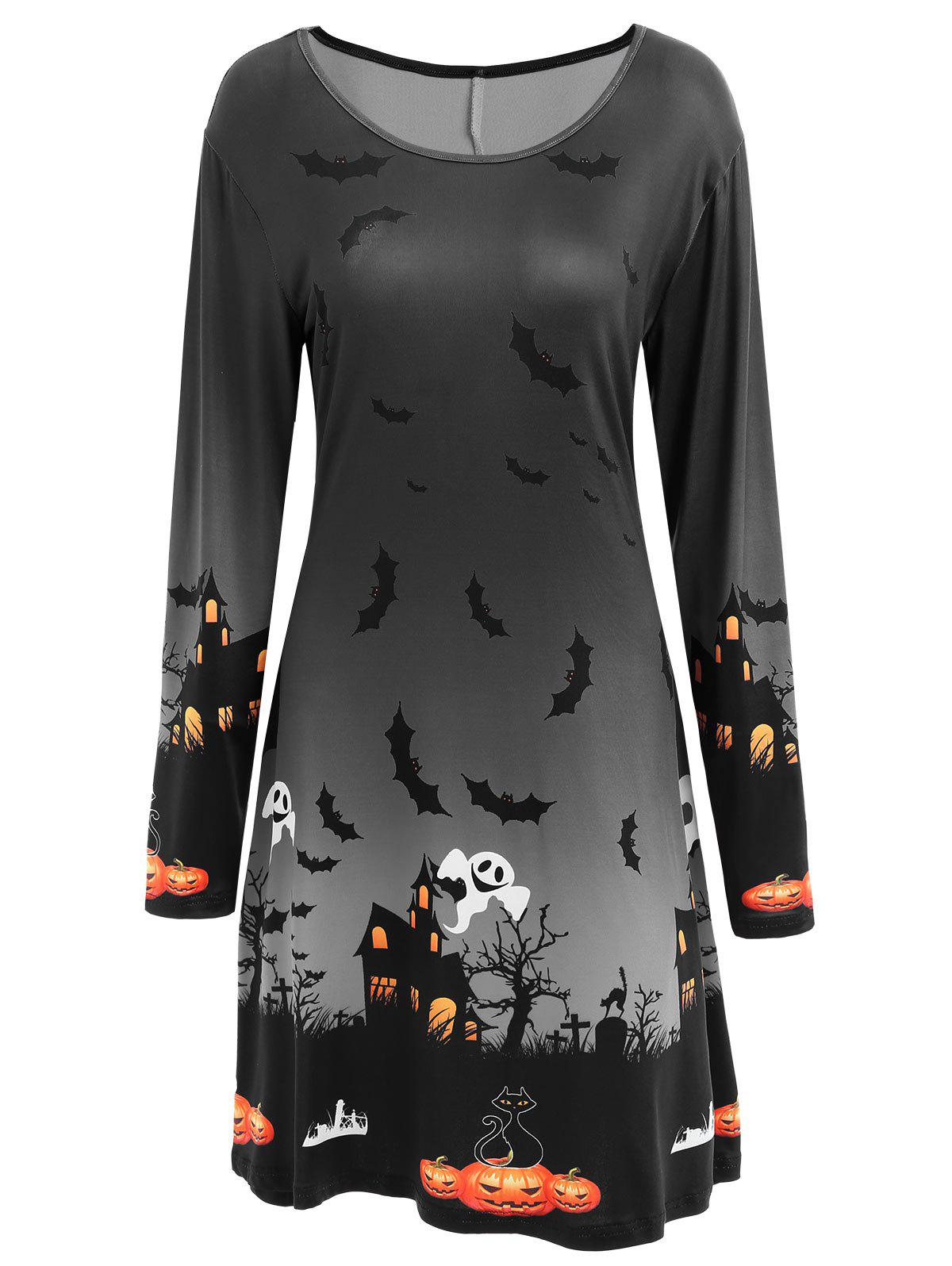 Pumpkin Bat Print Long Sleeve Halloween Swing Dress - DARK GREY S