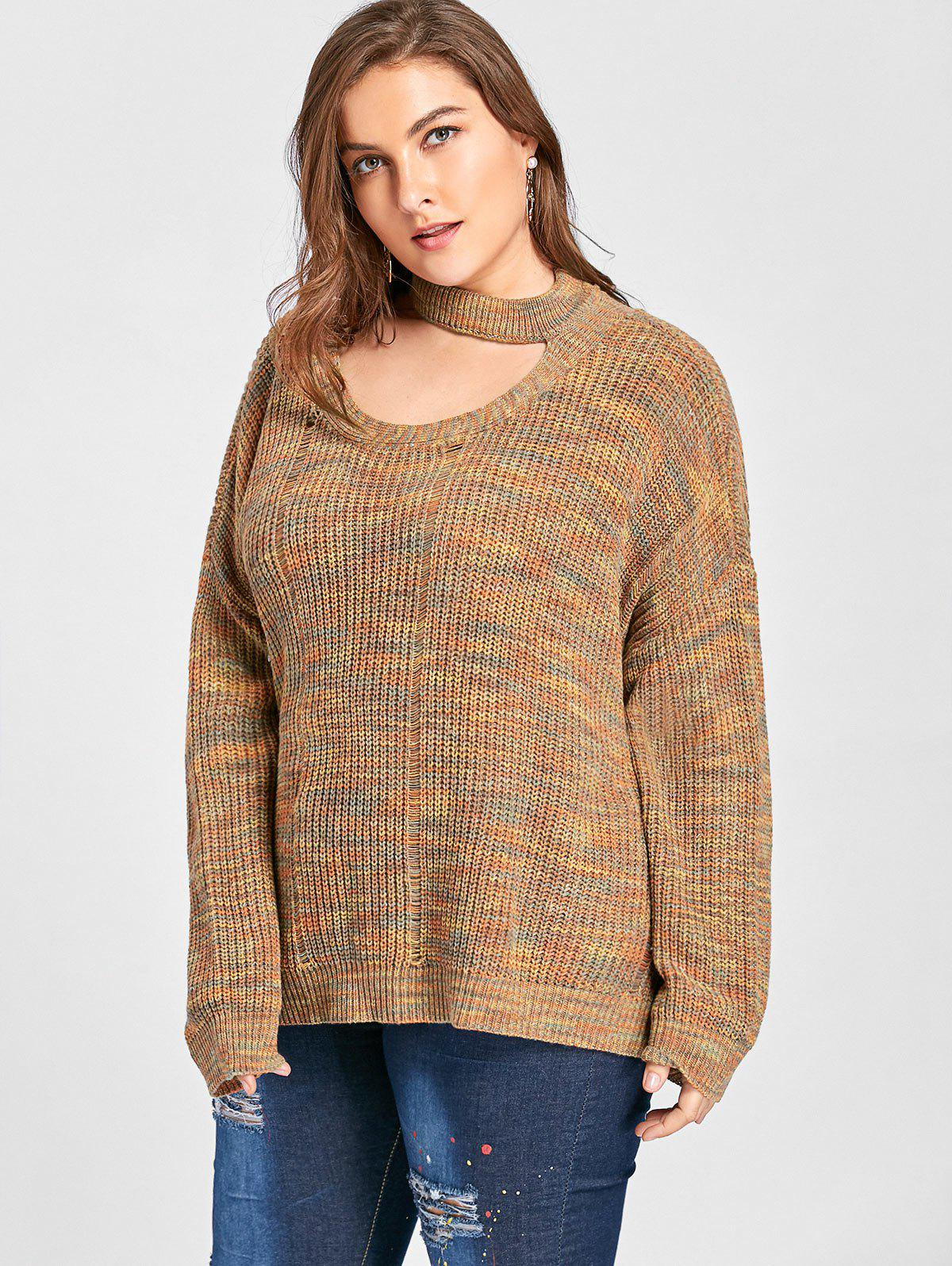 Plus Size Cut Out Neck Drop Shoulder Ripped Sweater - LIGHT COFFEE XL