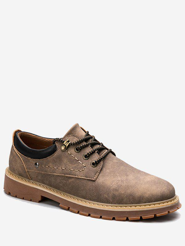 Low Top Lace Up Stitching Casual Shoes - BRUN 40