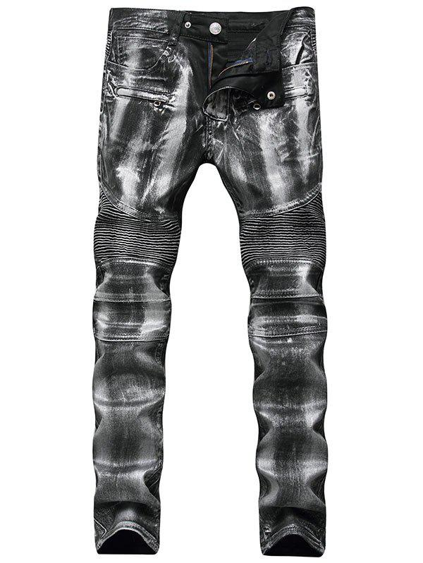 Metallic Color Straight Biker Jeans - SILVER 34