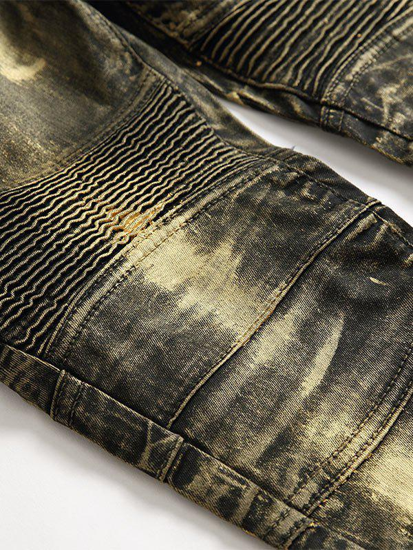 Metallic Color Straight Biker Jeans - GOLDEN 32