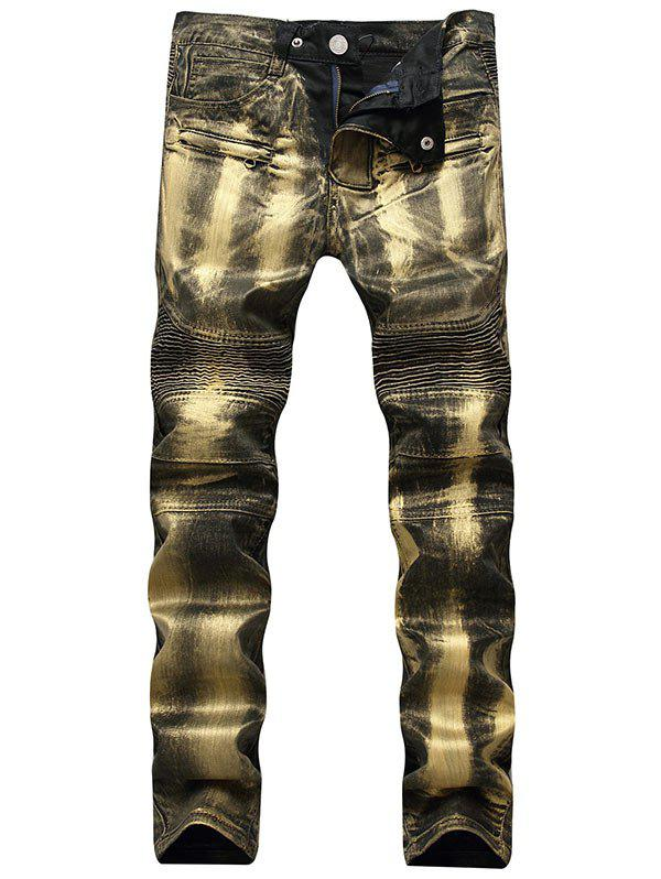 Metallic Color Straight Biker Jeans - GOLDEN 36