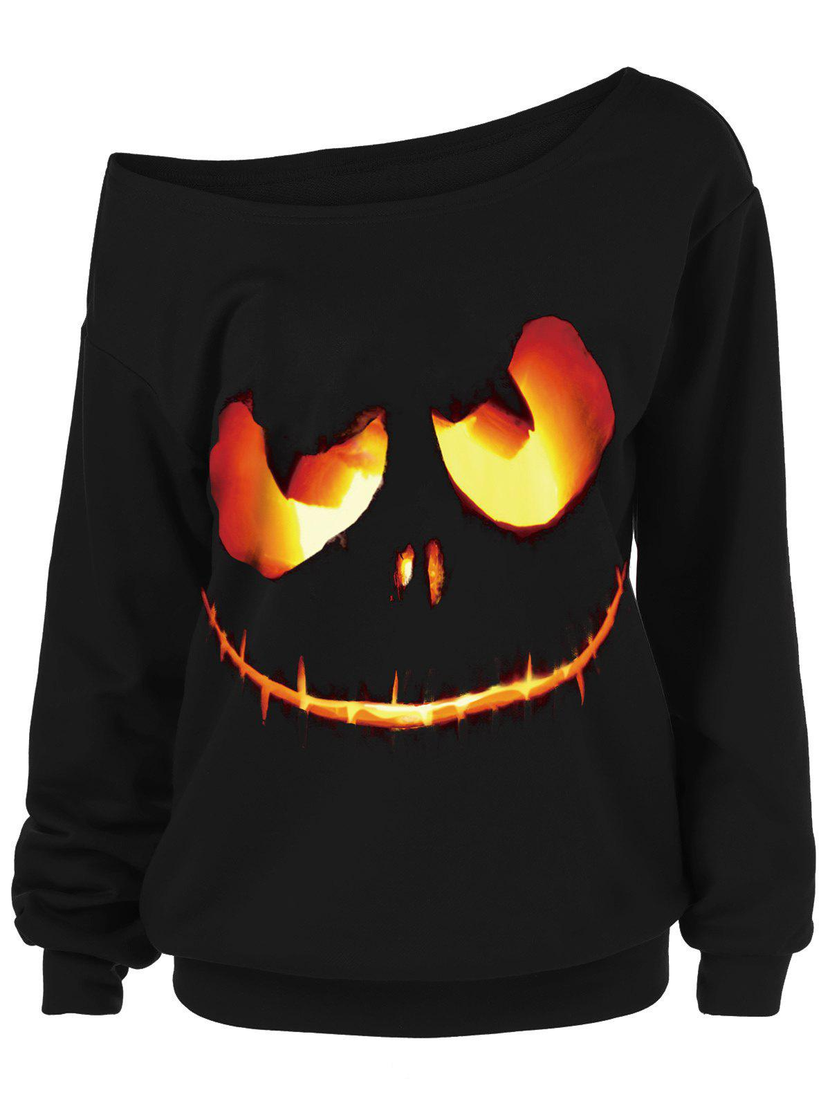 Ghost Face Plus Size Skew Neck Halloween Sweatshirt plus size halloween bat stars skew neck sweatshirt