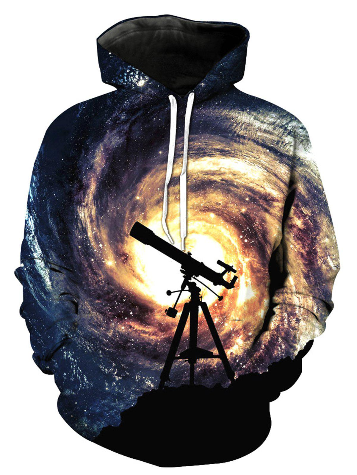 3D Galaxy Telescope Print Pullover Hoodie - COLORMIX XL