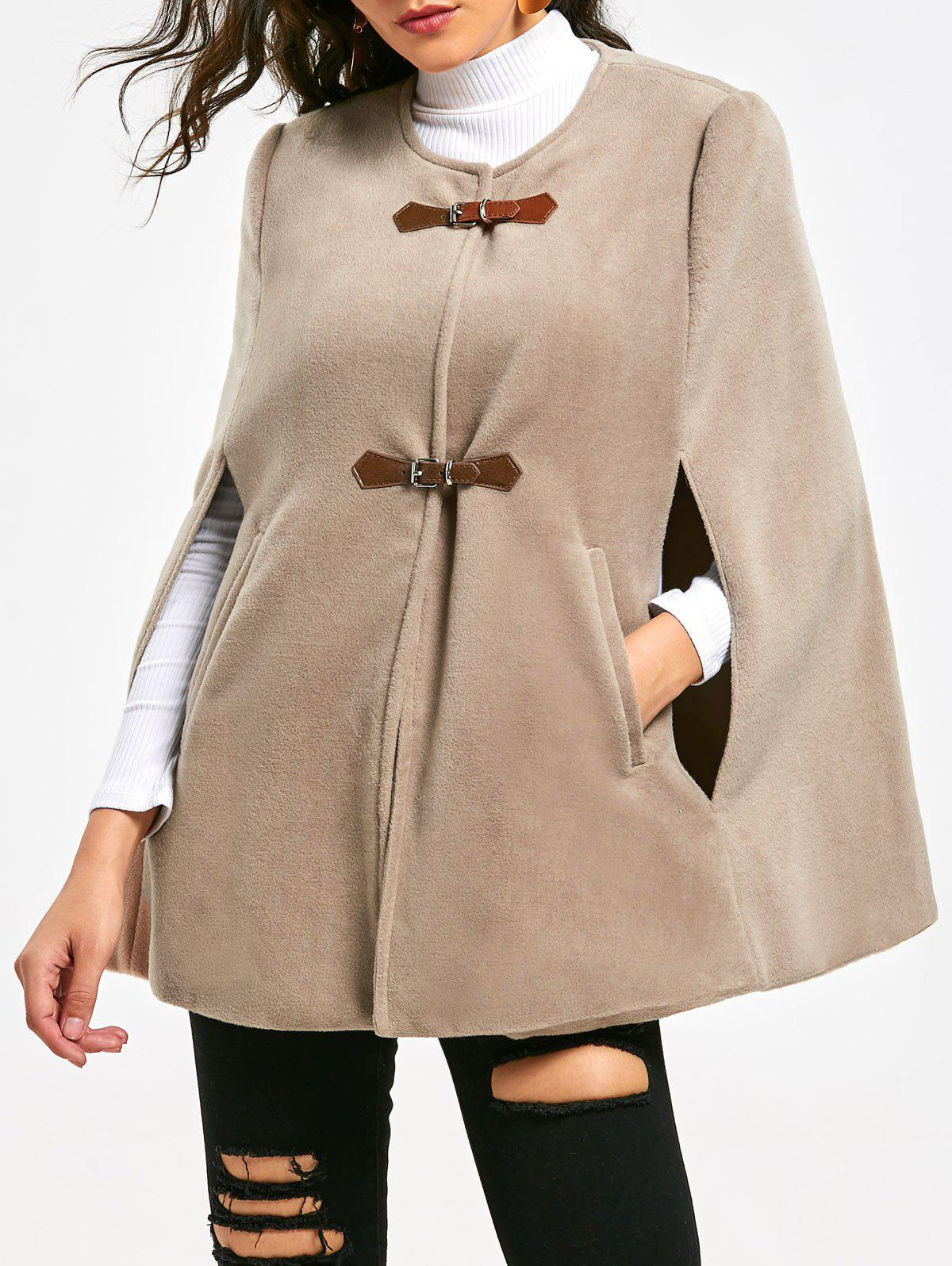 Faux Suede Cape Coat with Batwing Sleeve - APRICOT M