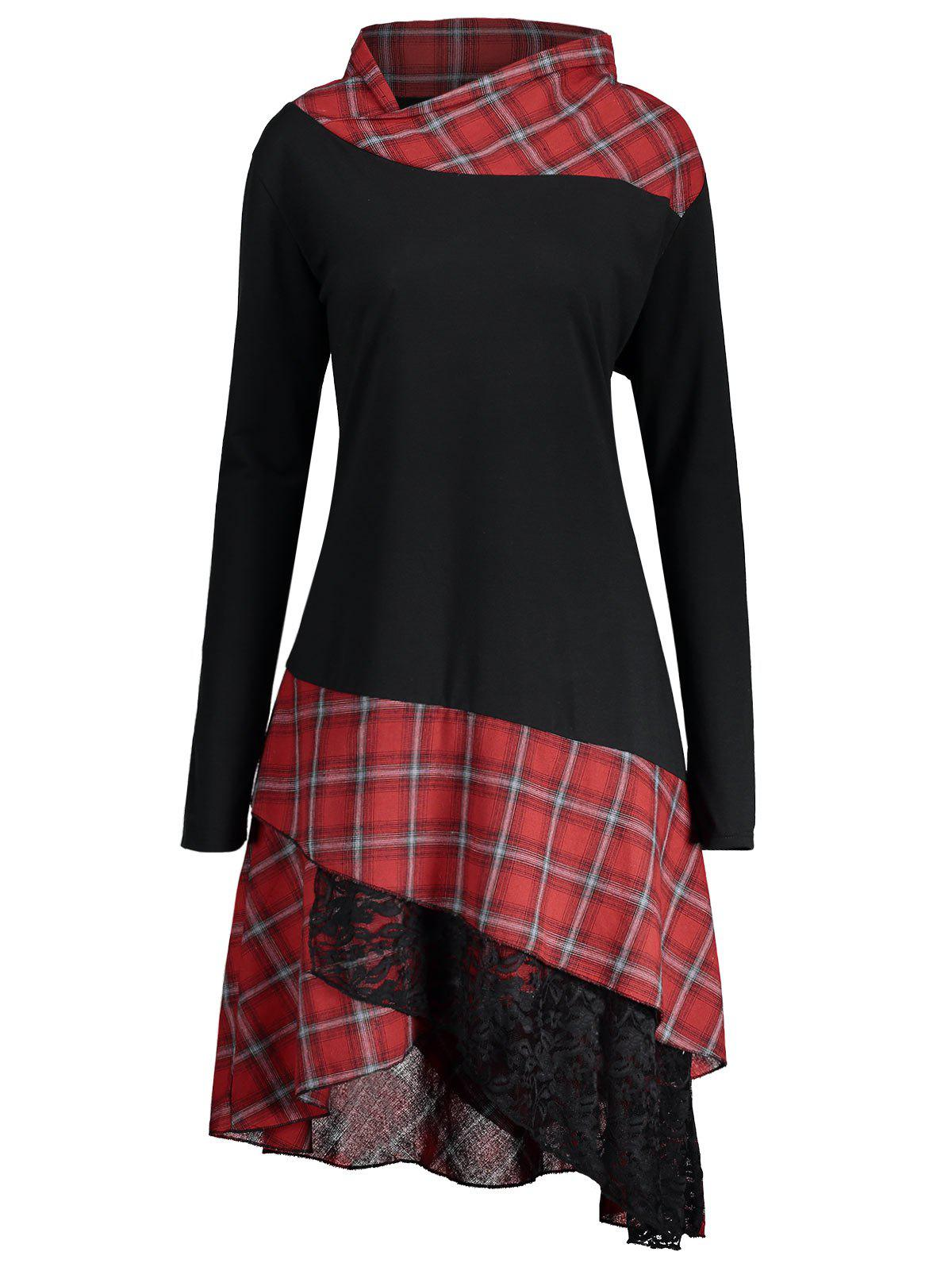 Lace Plaid Panel Plus Size Long Top - BLACK/RED 5XL