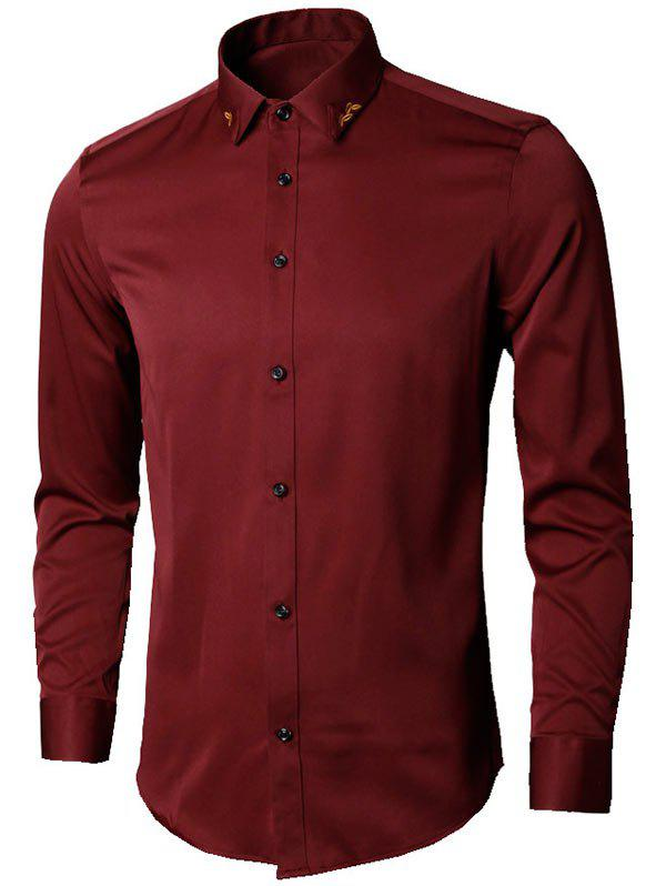 Long Sleeve Leaves Embroidered Shirt - WINE RED XL