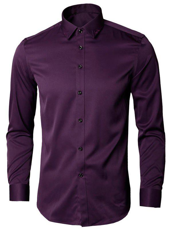 Long Sleeve Leaves Embroidered Shirt - PURPLE L