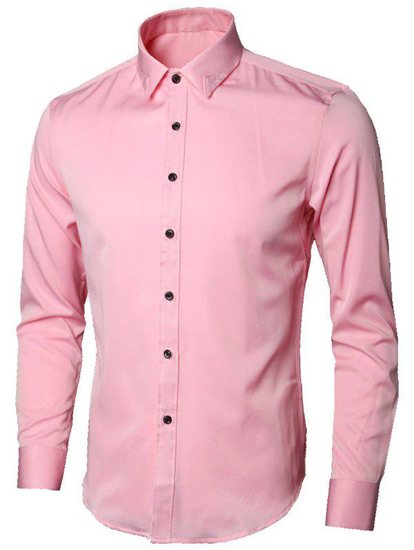 Long Sleeve Leaves Embroidered Shirt - PINK XL