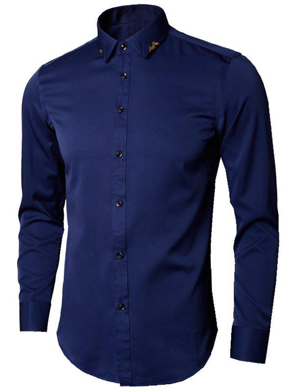 Long Sleeve Leaves Embroidered Shirt - DEEP BLUE L