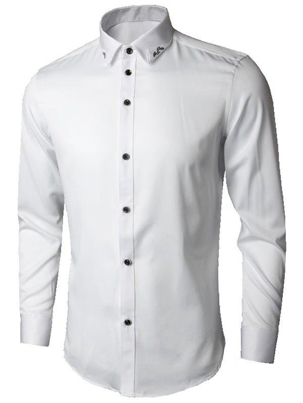 Long Sleeve Leaves Embroidered Shirt - WHITE 3XL