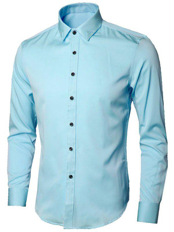 Long Sleeve Leaves Embroidered Shirt - LIGHT BLUE 2XL