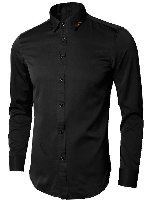 Long Sleeve Leaves Embroidered Shirt - BLACK 3XL