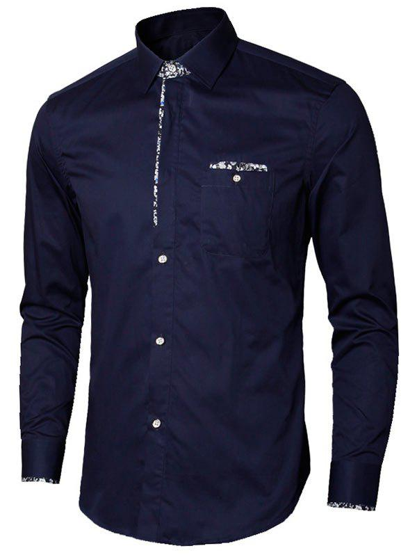 Floral Detail Long Sleeve Pocket Shirt - PURPLISH BLUE XL