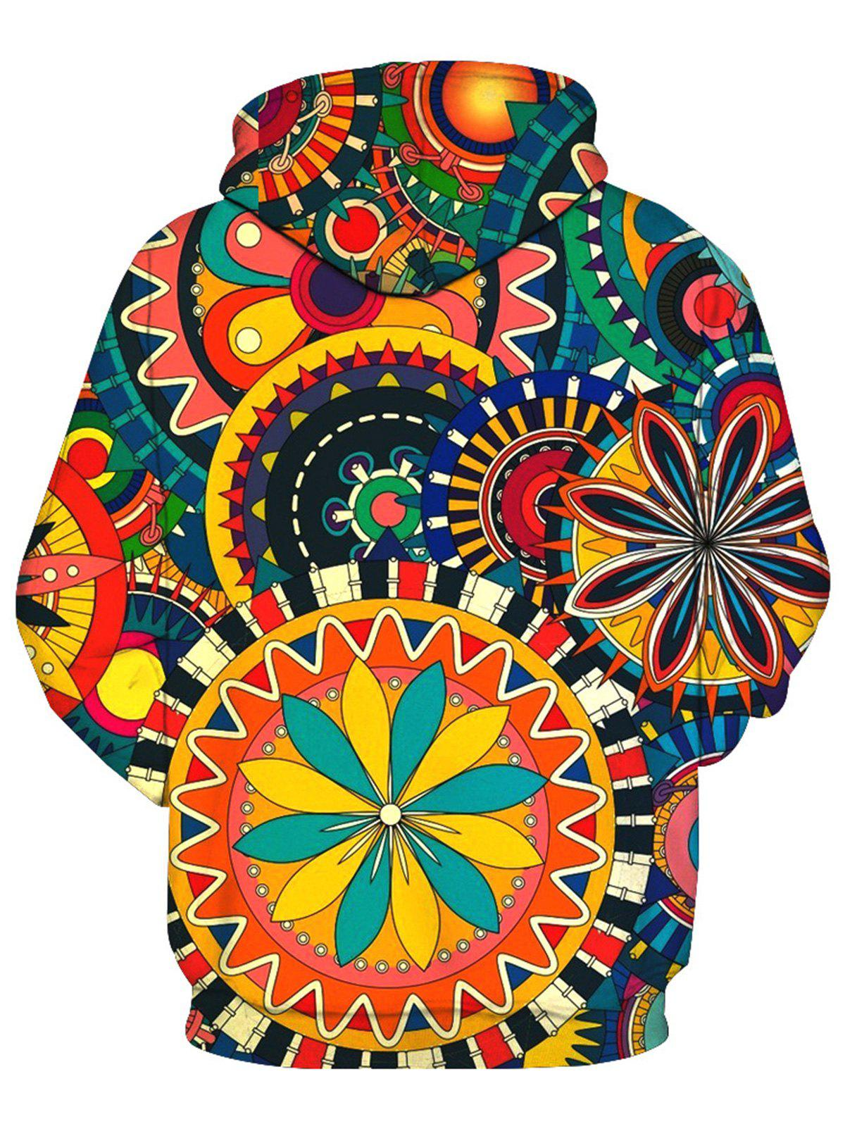 Colorful Wheel Gear 3D Print Pullover Hoodie - multicolorcolore M