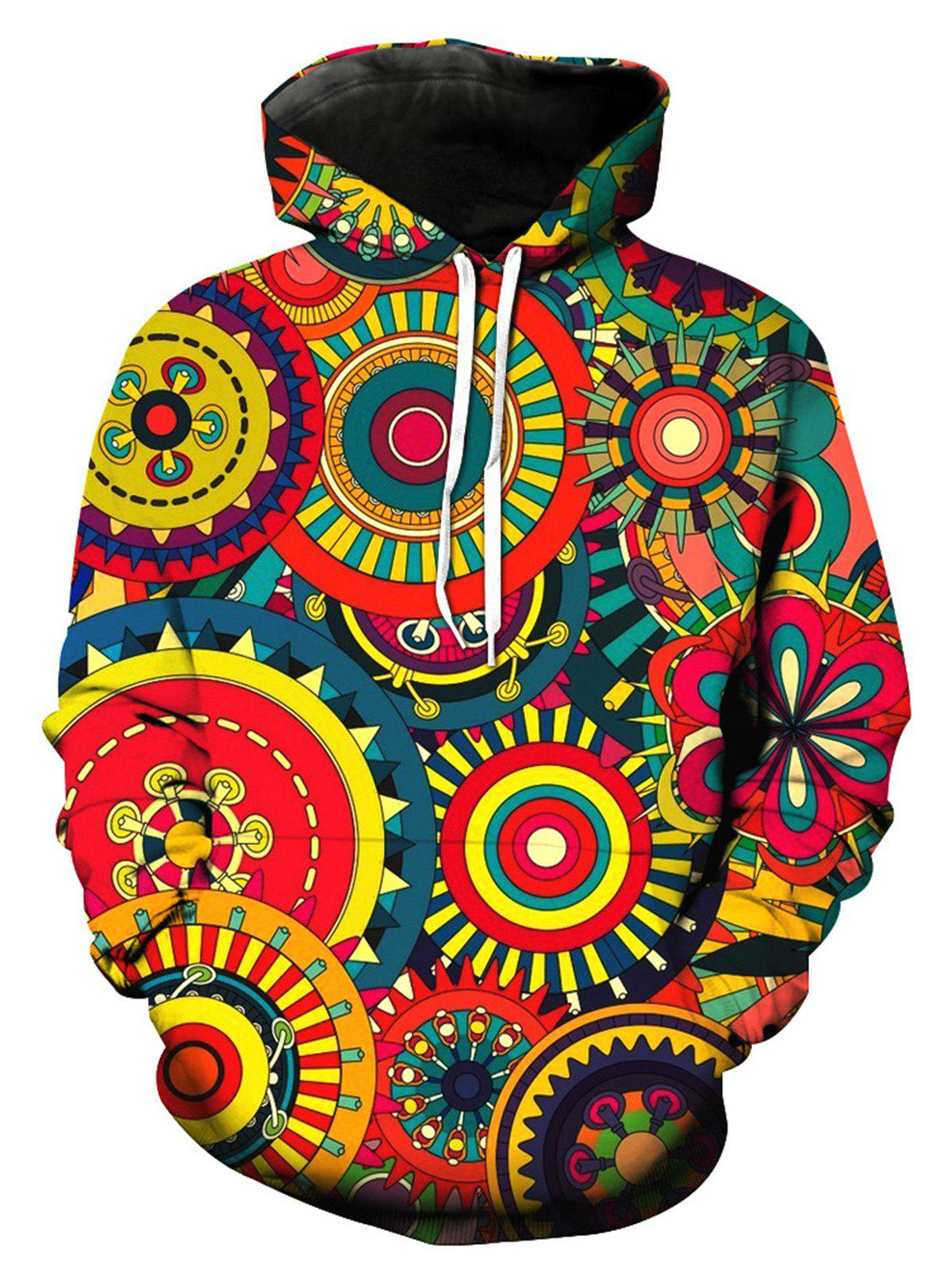 Colorful Wheel Gear 3D Print Pullover Hoodie - multicolorcolore L