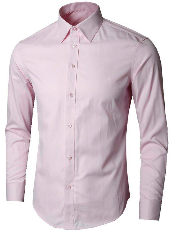 Long Sleeve Plain Formal Shirt - PINK 3XL