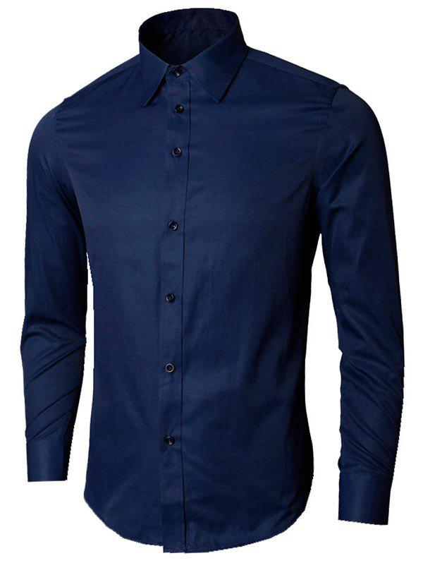 Long Sleeve Plain Formal Shirt - PURPLISH BLUE M