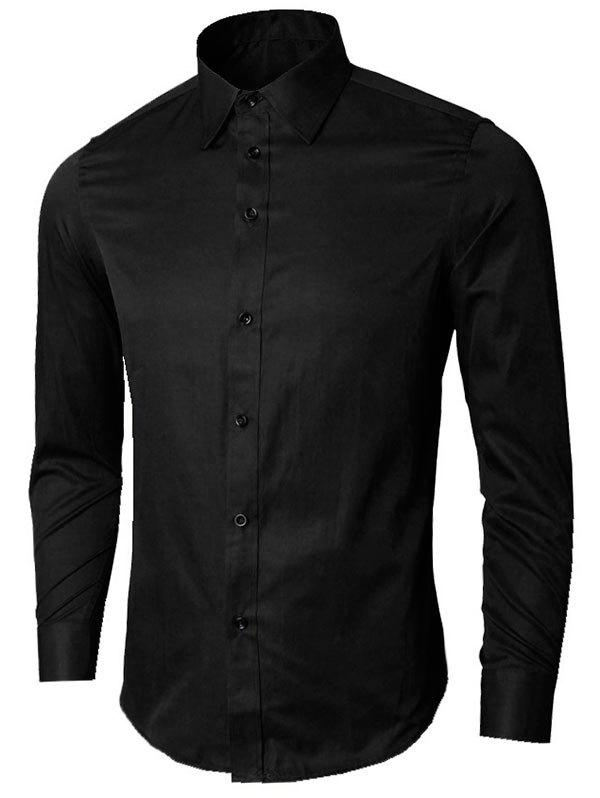 Long Sleeve Plain Formal Shirt - BLACK 4XL