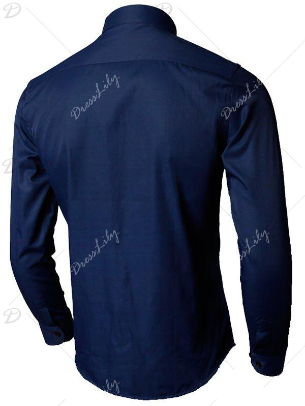 Long Sleeve Plain Formal Shirt - PURPLISH BLUE 5XL