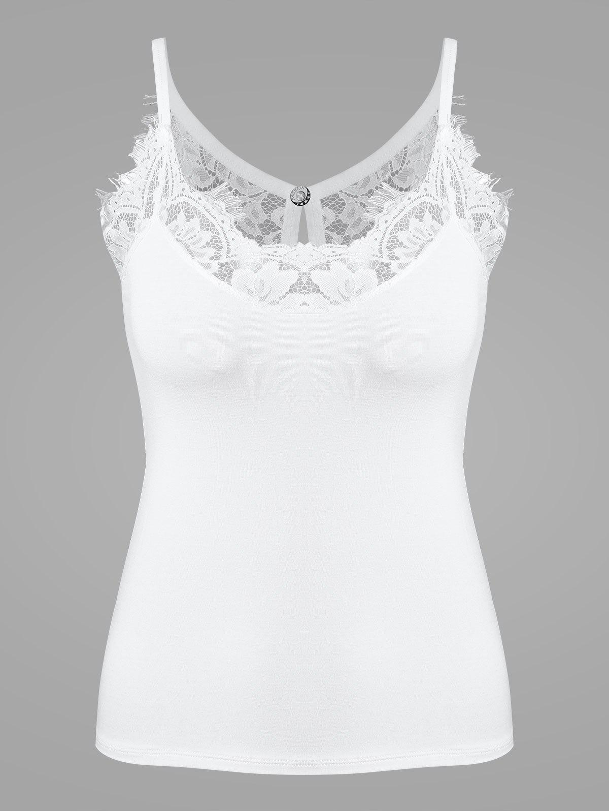 Lace Eyelash See Through Camisole - WHITE ONE SIZE
