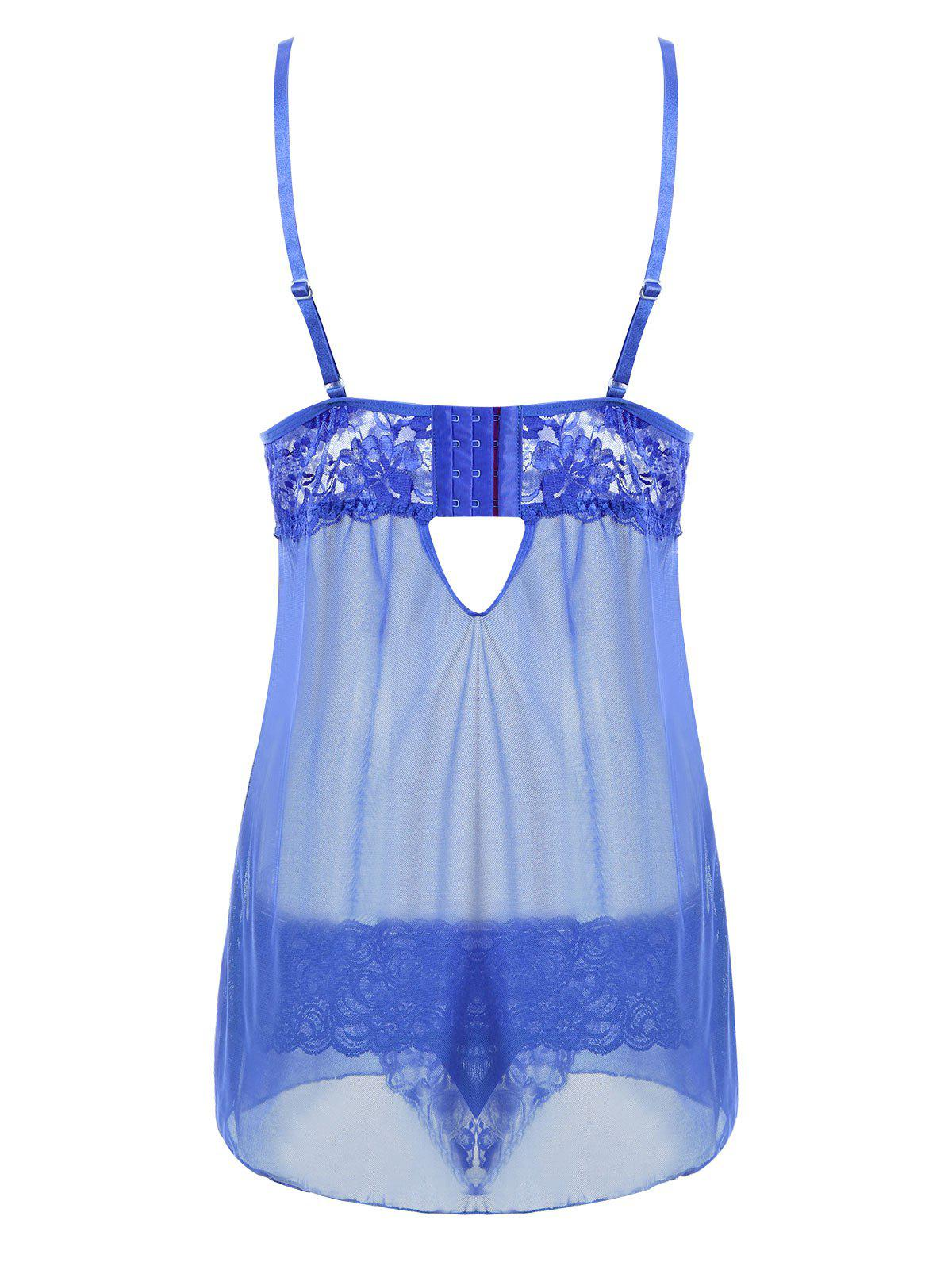 Cut Out See Through Slip Babydoll - BLUE XL