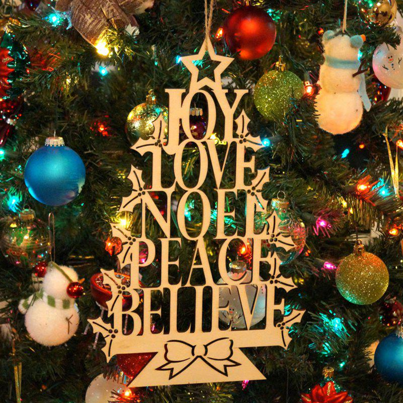 Christmas Tree Decorations Joy Noel Wooden Hanging Sign - WOOD