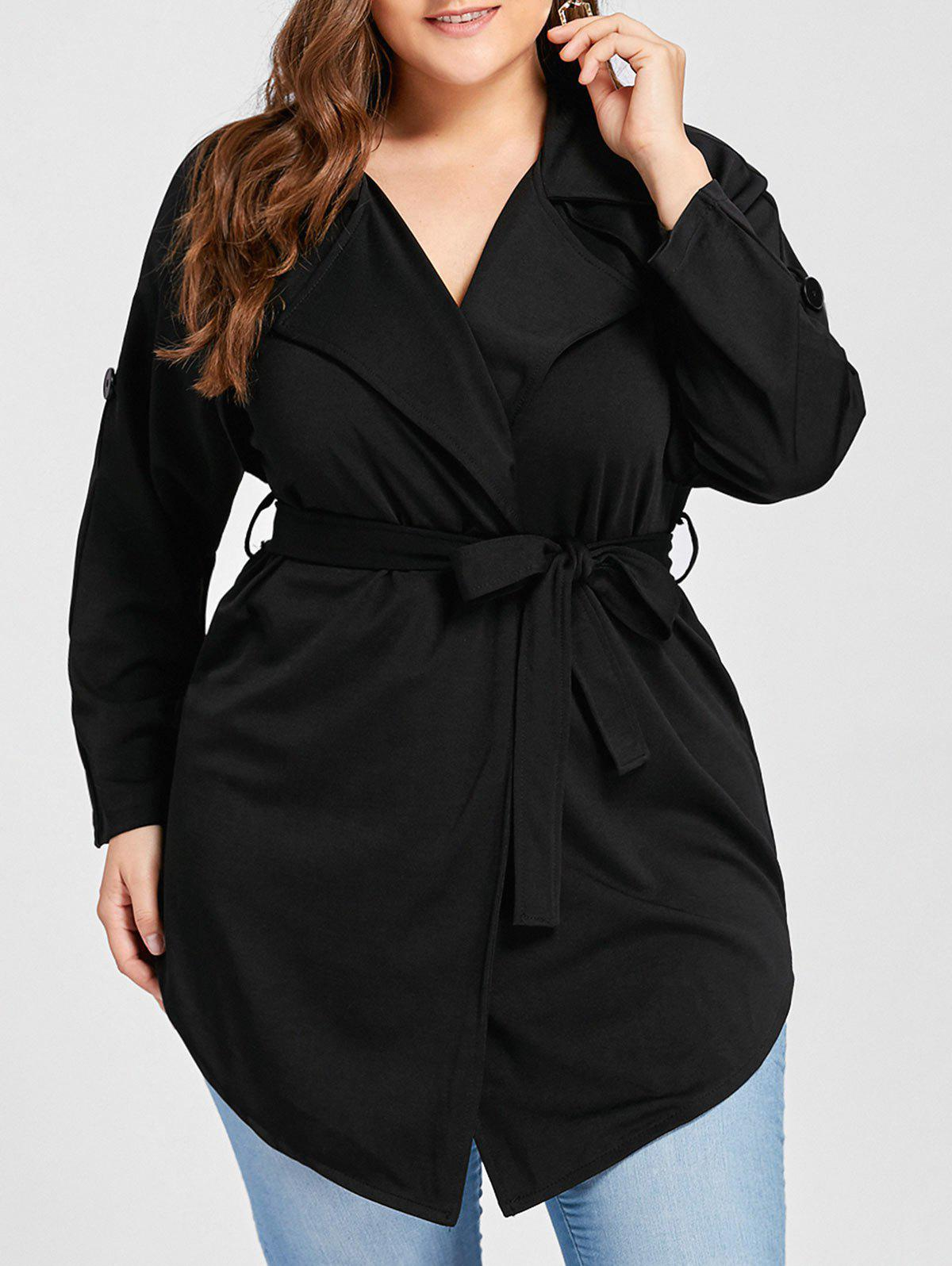 Plus Size Lapel Wrap Trench Coat lapel cotton trench coat