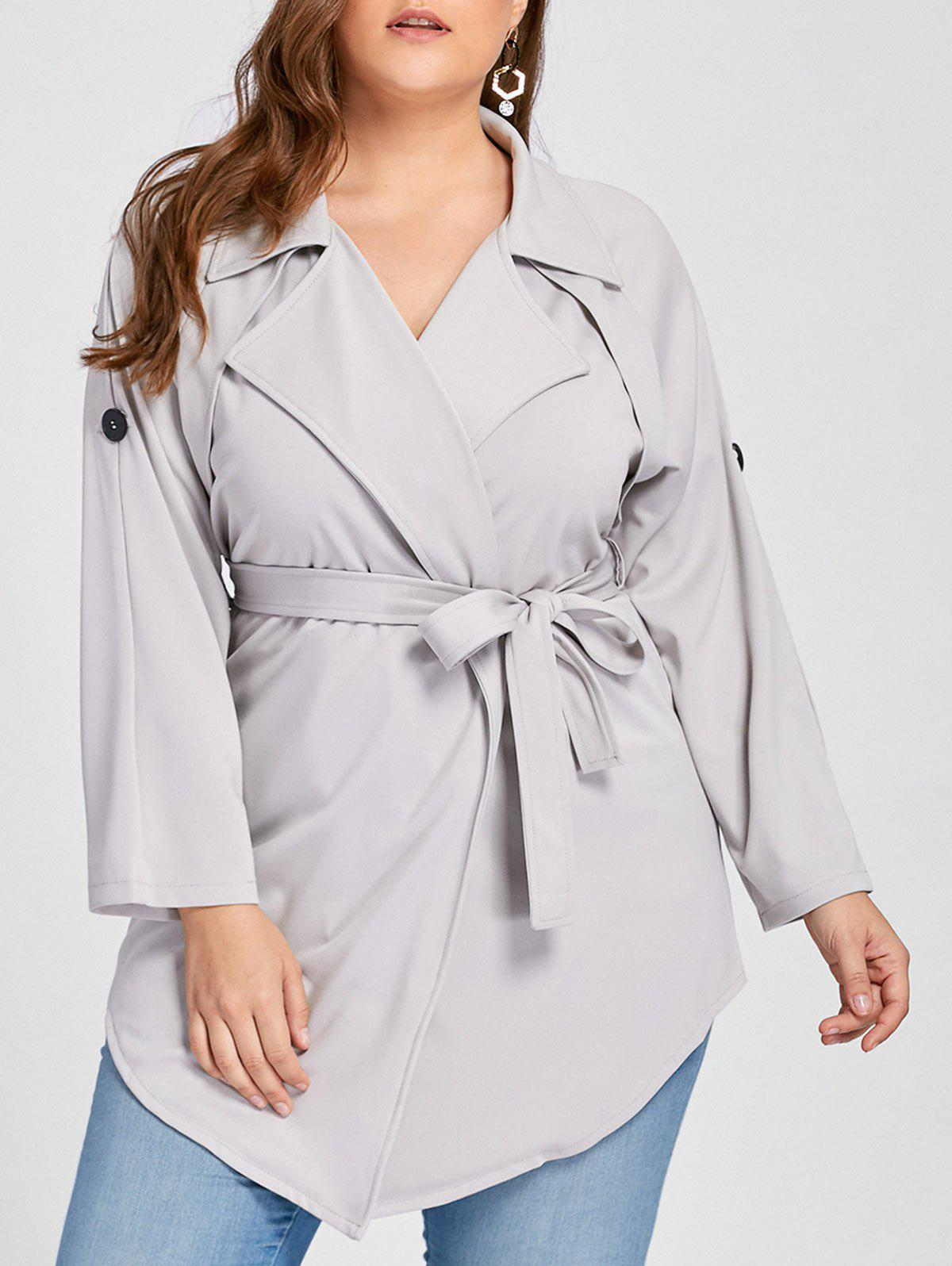 Plus Size Lapel Wrap Trench Coat - GRAY 2XL