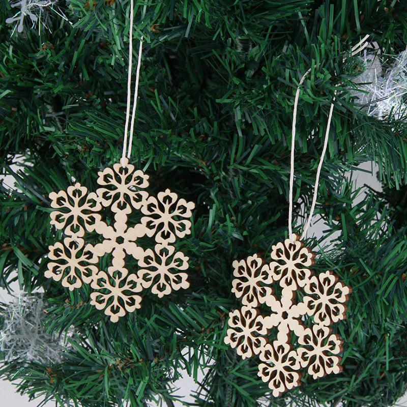 10 Pcs Christmas Decorations Wooden Snowflake - WOOD