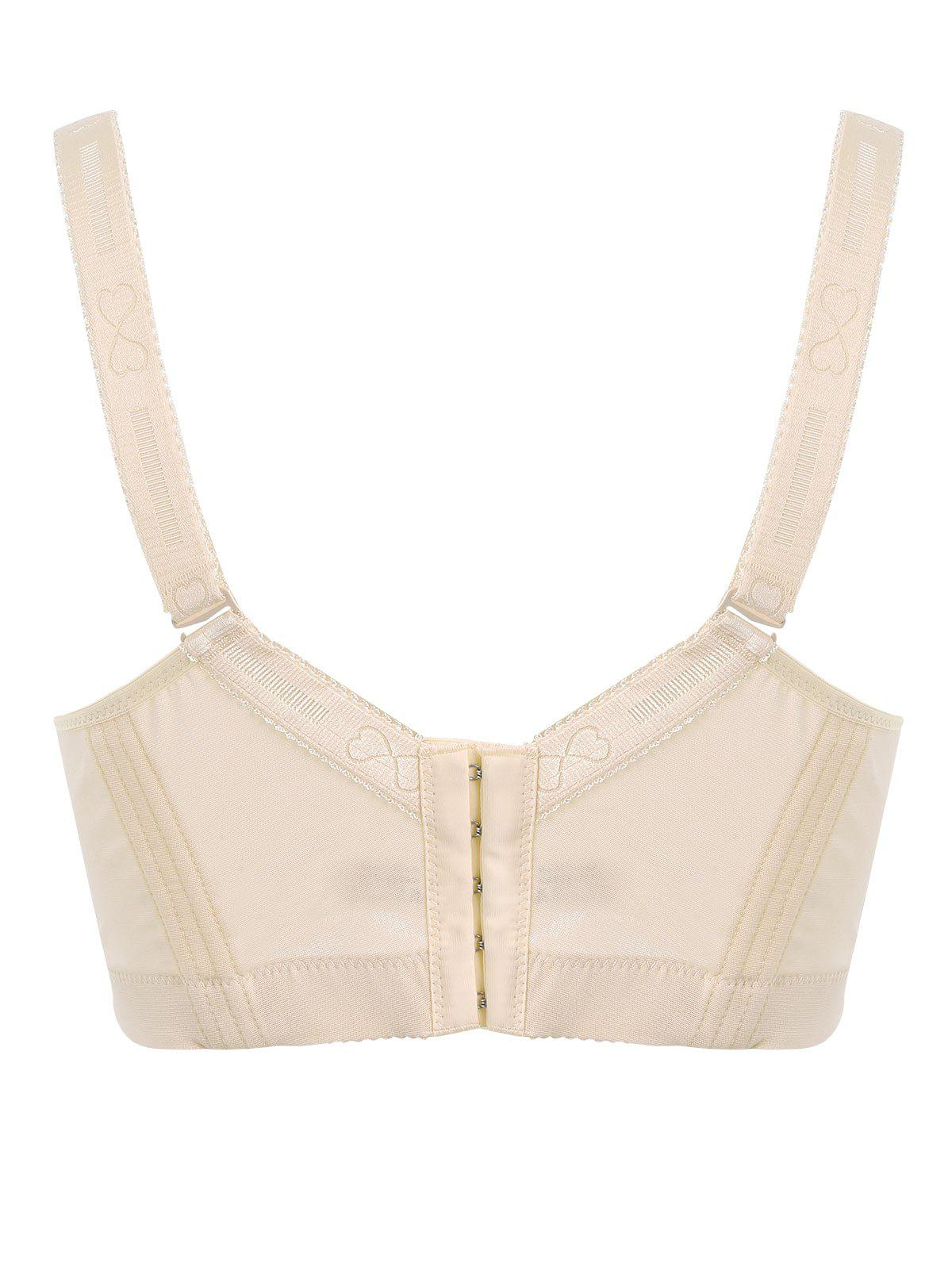 Padded Wirefree Floral Lace Panel Plus Size Bra - COMPLEXION 4XL