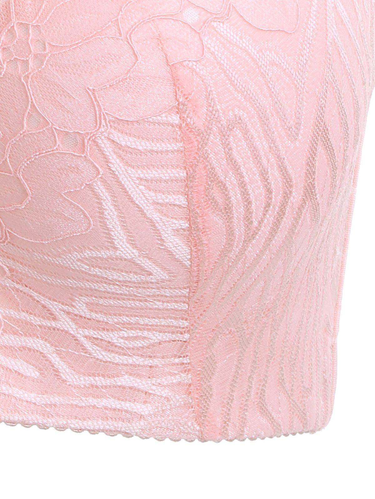 Padded Wirefree Floral Lace Panel Plus Size Bra - PINK 4XL