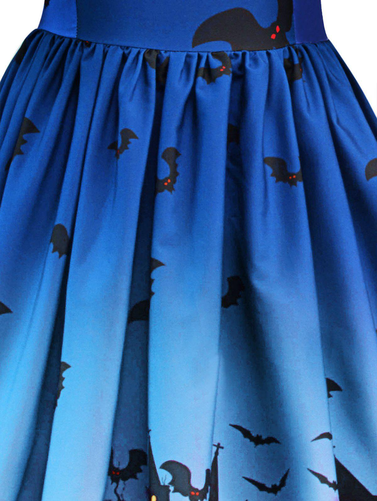 Robe Halloween à Empiècement en Dentelle Vintage - Bleu Royal L