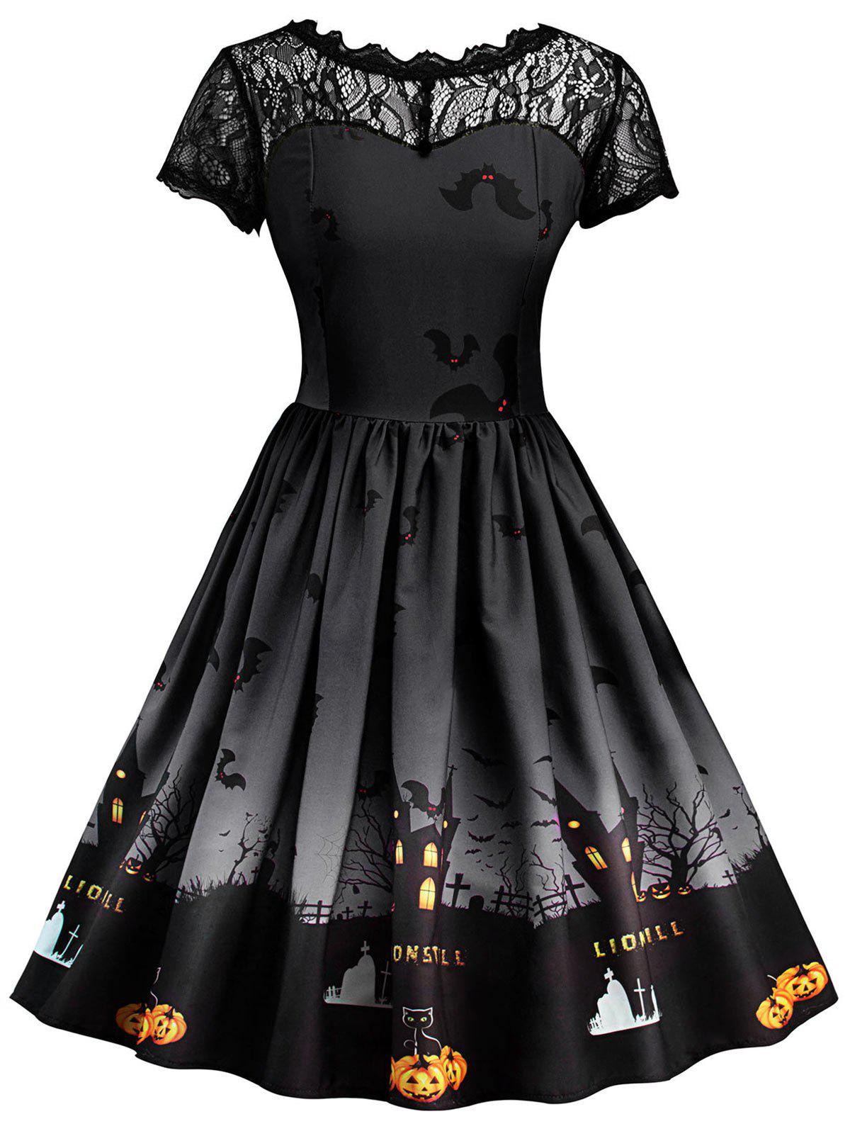 Halloween Vintage Lace Insert Pin Up Dress - DARK GREY M