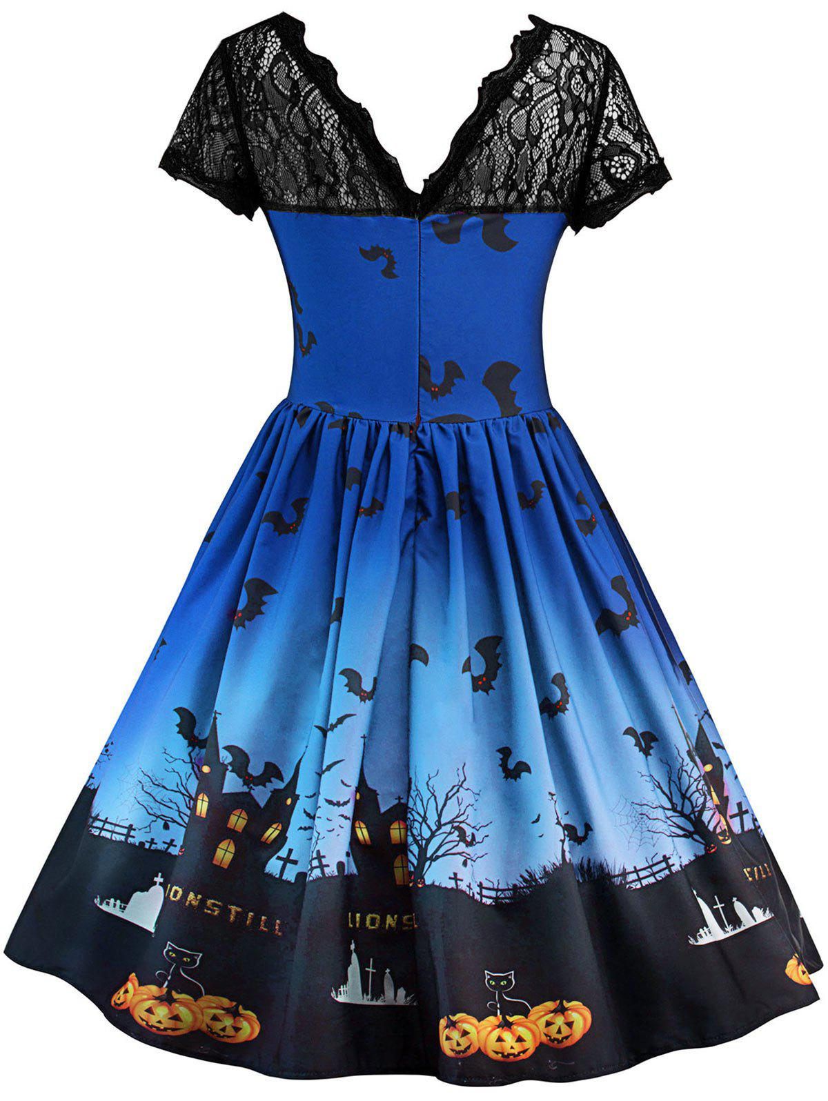 Robe Halloween à Empiècement en Dentelle Vintage - Bleu Royal M