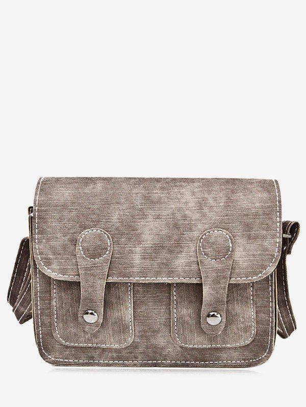 Buckle Straps Stitching Crossbody Bag - BROWN
