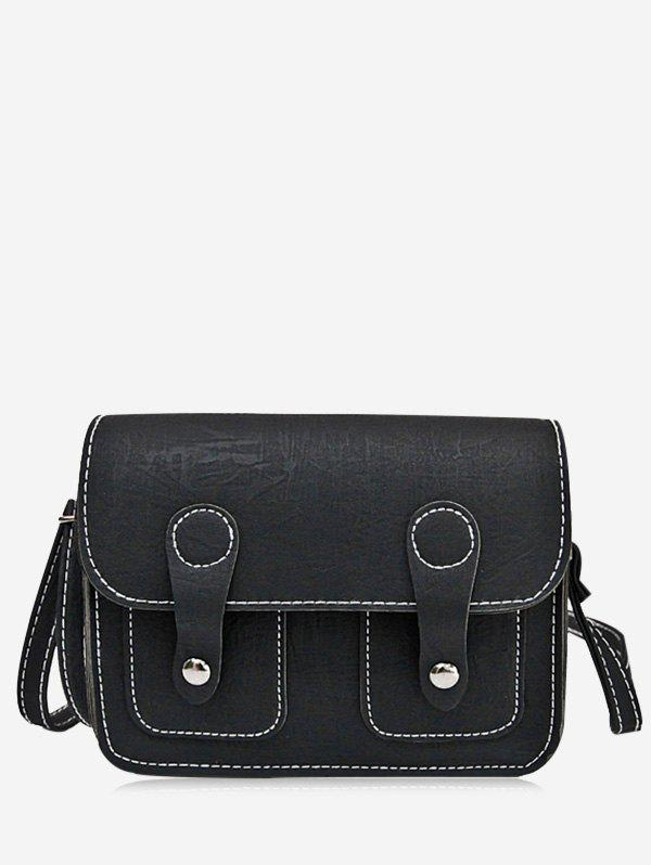 Buckle Straps Stitching Crossbody Bag - BLACK