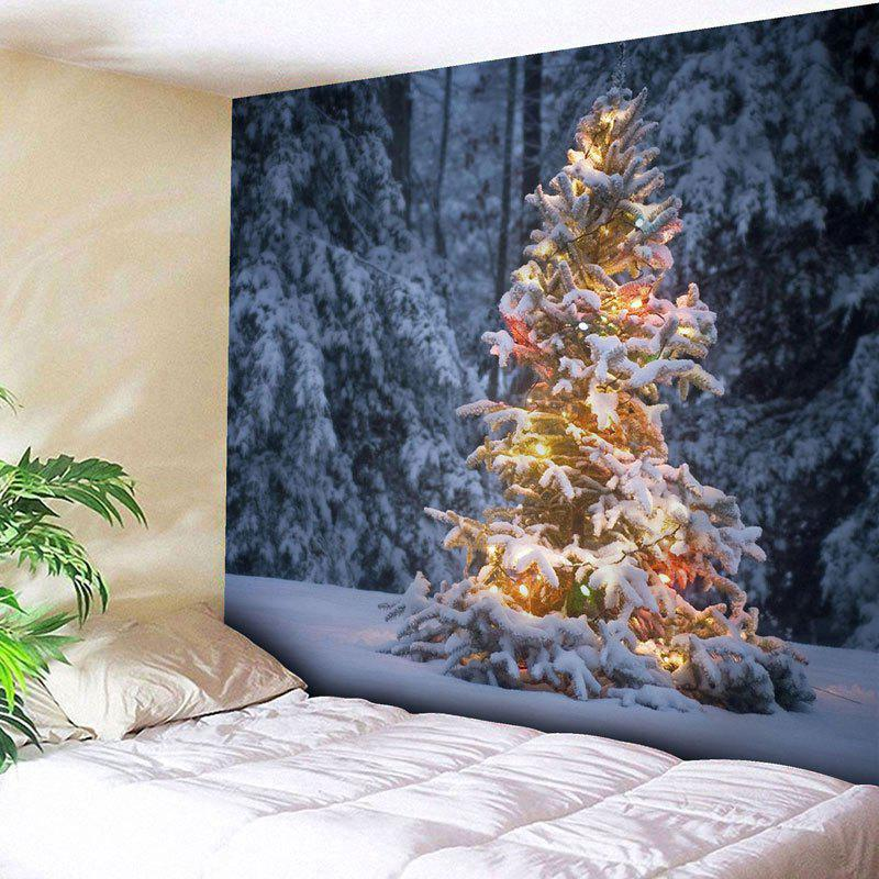 Wall Decor Christmas Snow Tree Print Tapestry - COLORMIX W91 INCH * L71 INCH