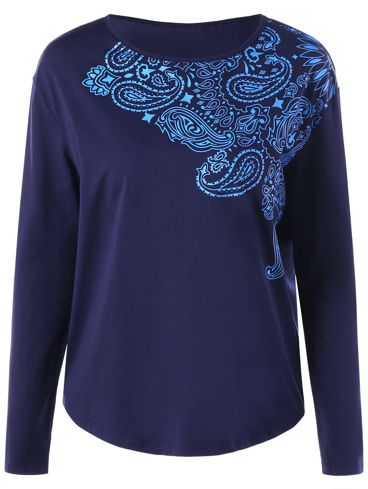 Paisley Print Long Sleeve Top - DEEP BLUE XL