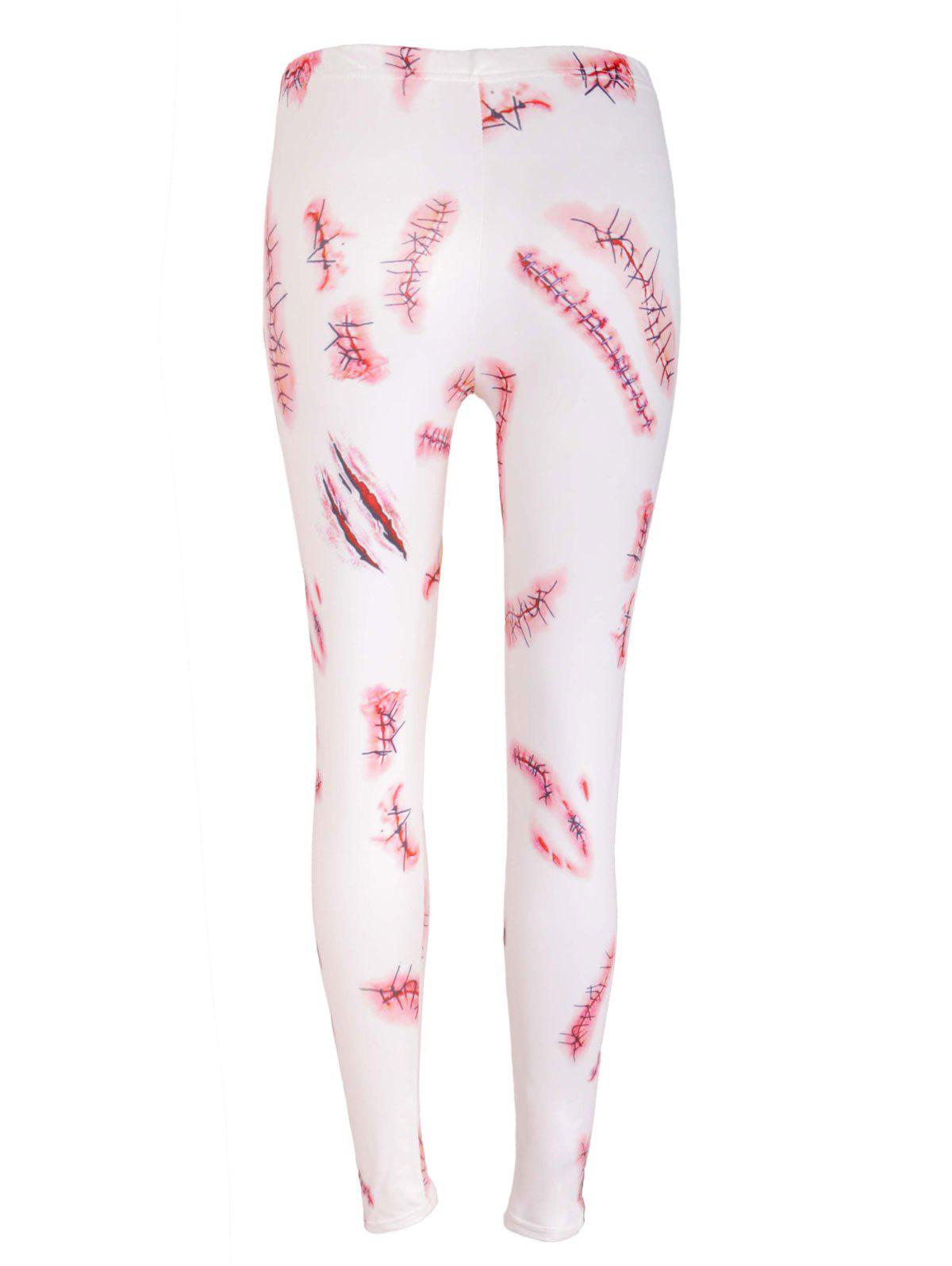 Halloween Party Bloody Wound Print Cosplay Skinny Leggings - WHITE L