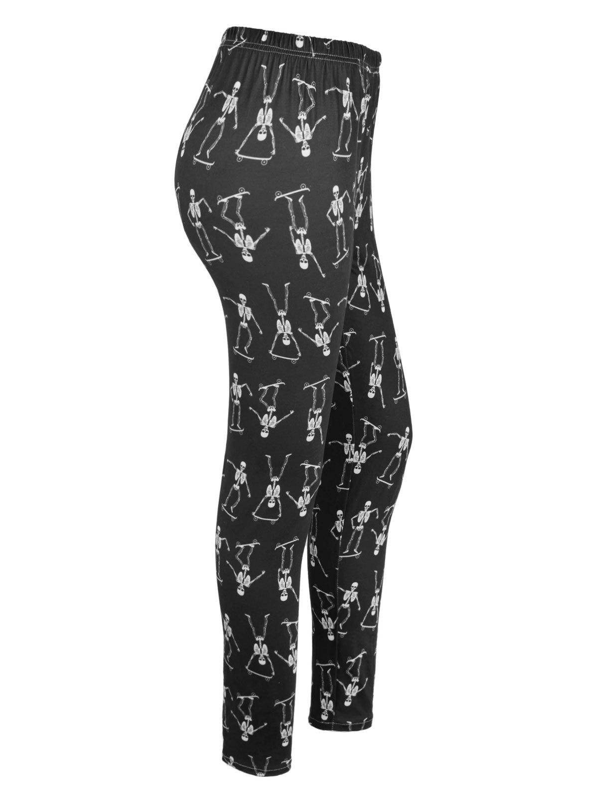 High Waisted Skeleton Print Halloween Leggings - BLACK XL
