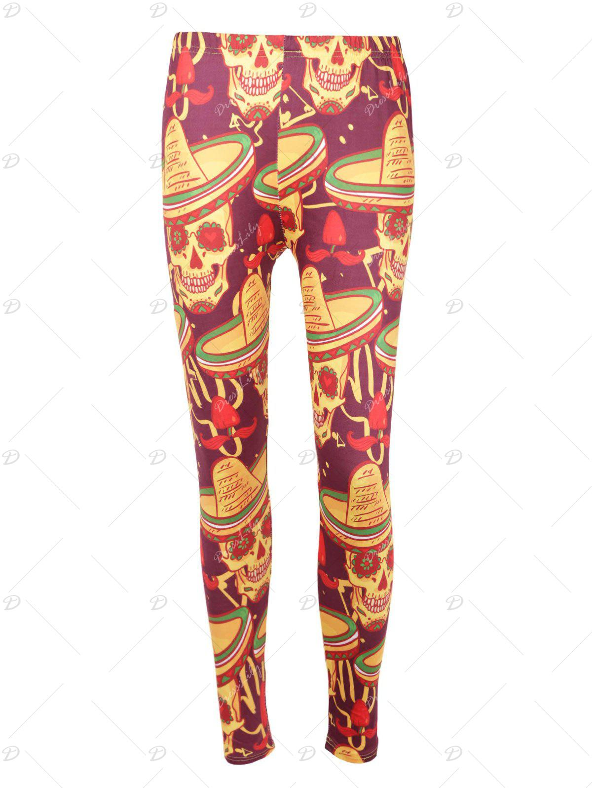 High Waisted Skull Print Halloween Leggings - COLORMIX M