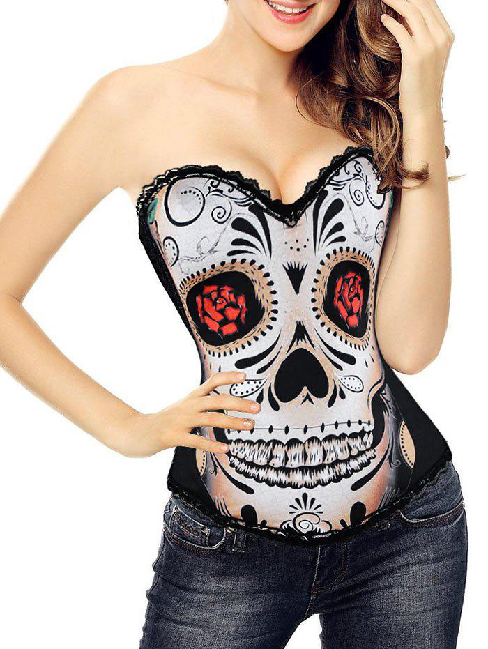 Halloween Skull Print Corset Top - BLACK M