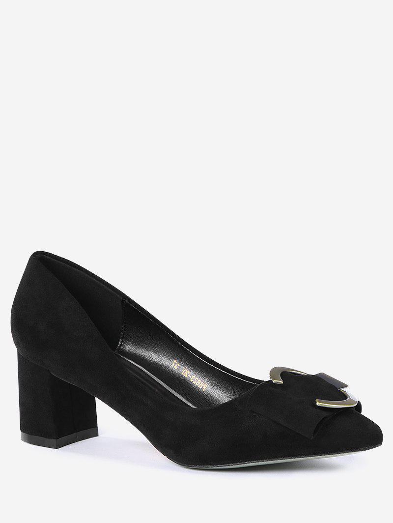 Buckle Strap Metal Pointed Toe Pumps - BLACK 39