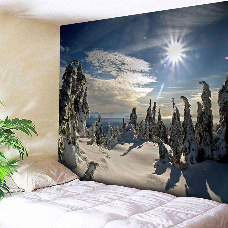 Wall Hanging Christmas Snowscape Tapestry - BLUE W79 INCH * L59 INCH