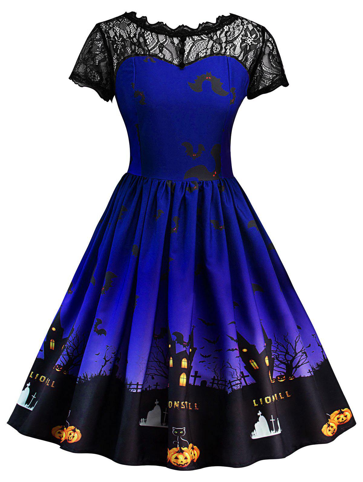 Halloween Vintage Lace Insert Pin Up Dress - BLUE XL